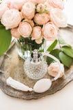 Elegant composition retro style, vintage perfume bottle Royalty Free Stock Photography