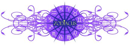 Elegant composition with Zodiac signs isolated. Illustration representing the symbols of the 12 zodiac signs, that can be used in projects about horoscopes Royalty Free Stock Photo