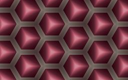 Abstract background of 3D cubes and hexagons in honey comb shape. Elegant contemborary abstract background of shining purple and ruby cubes within honeycombs Stock Images