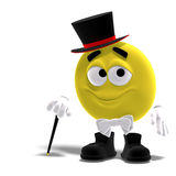 Elegant cool and funny yellow emoticon with bow Royalty Free Stock Photo