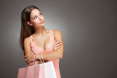 Elegant cool shopping beauty. Royalty Free Stock Photos