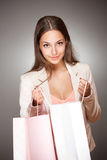 Elegant cool shopping beauty. Stock Images