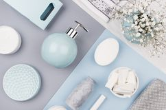Free Elegant Cosmetics Set Of Accessories For Beauty Care Top View - Soap, Towel, Ceramic Pastel Blue Bowls, Silver Cosmetic Bag. Stock Image - 132224281