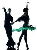 Elegant couple dancers dancing silhouette Royalty Free Stock Images