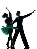 Elegant couple dancers dancing silhouette Royalty Free Stock Photos