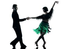 Elegant couple dancers dancing silhouette Stock Images