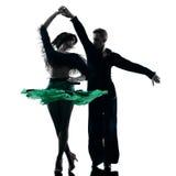 Elegant couple dancers dancing silhouette Stock Images