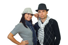 Elegant couple  with hats Stock Photography