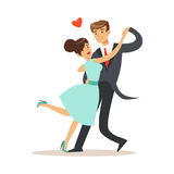 Elegant couple in love dancing together in classical repertoire colorful characters vector Illustration Royalty Free Stock Image