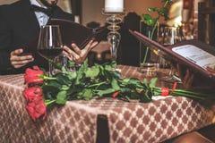 Romantic dinner at the restaurant royalty free stock photos