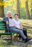 Elegant couple. Elegant older couple resting in park Stock Photo