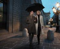 Elegant couple outdoors stock photos