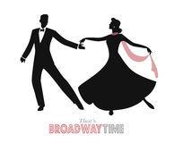 Elegant couple silhouettes dancing retro style Stock Photography