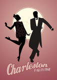Elegant couple silhouettes wearing 20`s style clothes dancing charleston. Stock Image