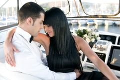 Elegant couple in a yatch Royalty Free Stock Image