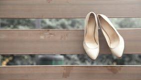 Elegant cream leather wedding shoes royalty free stock photo