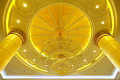 Elegant crystal chandelier and architecture details Royalty Free Stock Photos