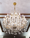 Elegant crystal chandelier Stock Photo