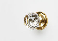 Elegant crystal knob. Crystal gold door knob on white stock image