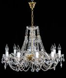 Elegant crystal strass chandelier with ten lamps. royalty free stock images