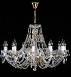 Elegant crystal strass chandelier with ten lamps. stock photos