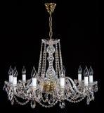 Elegant crystal strassljuskrona med tio lampor Royaltyfria Bilder