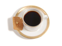 Elegant cup of coffee with almond biscuit royalty free stock photos