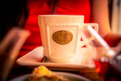 Free Elegant Cup Of Tea With A Blurred Silhouette Of A Woman In Red Behind Having A Pleasent Moment While Drinking Stock Photography - 186643172