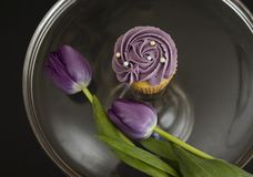 Purple Cupcake with Purple Tulips. An elegant cupcake frosted with purple frosting and adorned with edible pearls sits on a glass plate with two matching purple Royalty Free Stock Photography