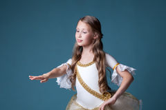 Elegant curly girl dancing at camera Stock Photos
