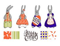 Elegant cute easter bunnies on a white background. Hand lettering Happy Easter. Set of seamless patterns vector illustration