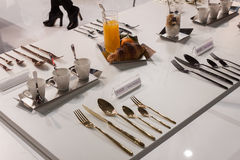 Elegant cutlery at Host 2013 Stock Photography