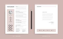 Elegant CV-/meritförteckning- och följebrevmall - dammig rosa rosa färg royaltyfri illustrationer