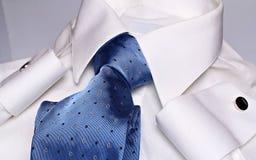 Elegant cyan necktie. White shirt , elegant cyan necktie and blue cuff links stock image