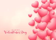Elegant 3d heart background for valentine`s day. Illustration Stock Images