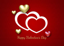 Elegant 3D Valentine Hearts. Elegant and modern Valentine´s Day illustration: 2D and 3D hearts on a red patterned background with greeting Royalty Free Stock Photo