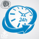 Elegant 3d vector round 24 hours clock, around-the-clock. Pictogram. Time idea perspective dimensional symbol. Twenty-four hours a day conceptual stylized icon Royalty Free Stock Photos