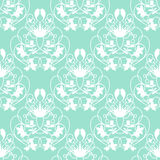 Elegant damask mint seamless vector background with delicate swirl Royalty Free Stock Photography