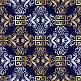 Damask seamless pattern with greek key ornaments. Elegant damask seamless pattern. Floral dark blue vector meander background. Gold silver hand drawn vintage Royalty Free Stock Image