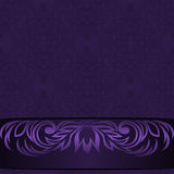 Elegant damask violet Background with ornamental Border - Invitation Design Royalty Free Stock Photo