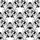 Elegant damask white seamless vector background. With black delicate swirl design Royalty Free Stock Images