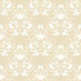 Elegant damast beige sömlös vektorbakgrund Royaltyfri Fotografi