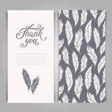 Elegant dank u kaarden malplaatje met zilveren verensymbolen Royalty-vrije Stock Afbeeldingen