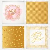 Elegant dank u kaarden malplaatjes met roze naadloze patronen Royalty-vrije Stock Afbeelding