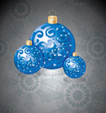 Elegant dark Christmas background. With blue decoration balls and snowflakes Royalty Free Stock Images