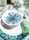 Elegant and Decorated Christmas table setting Royalty Free Stock Photos