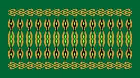 Elegant and decorative border of Hindu and Arabic inspiration of various colors, golden, black and light green and green backgroun. D a Stock Illustration