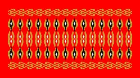 Elegant and decorative border of Hindu and Arabic inspiration of various colors, golden, black and white and red background. A Royalty Free Illustration