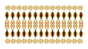 Elegant and decorative border of Hindu and Arabic inspiration of various colors, golden and red and white background. Elegant and decorative border of Hindu and Stock Illustration