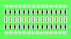 Elegant and decorative border of Hindu and Arabic inspiration of various colors, white and red and green background. A Vector Illustration